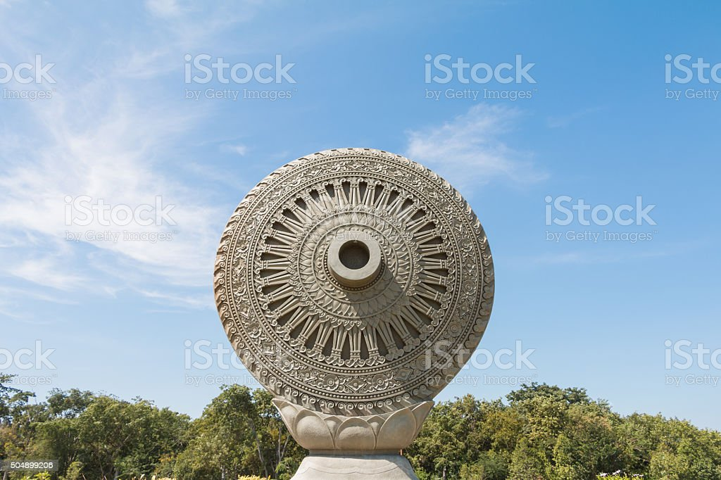 Wheel of Dhamma or Wheel of Law in Ayutthaya, Thailand. stock photo