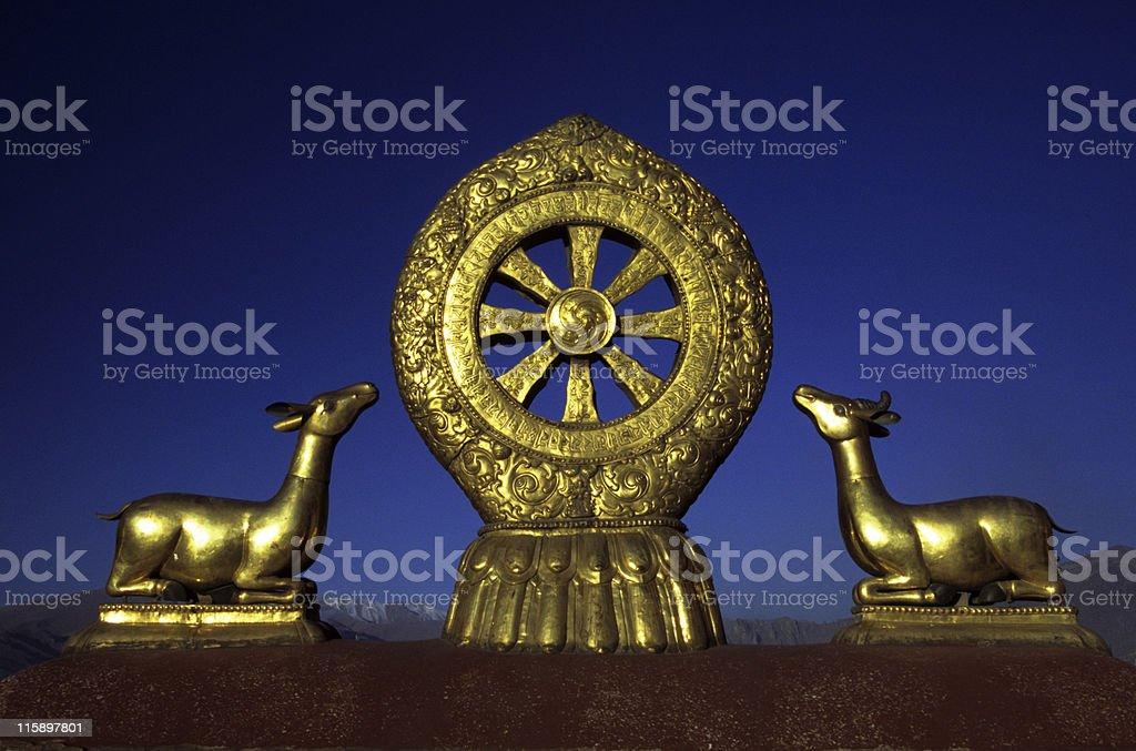 Wheel of Dharma, Jokhang Monastery, Tibet stock photo
