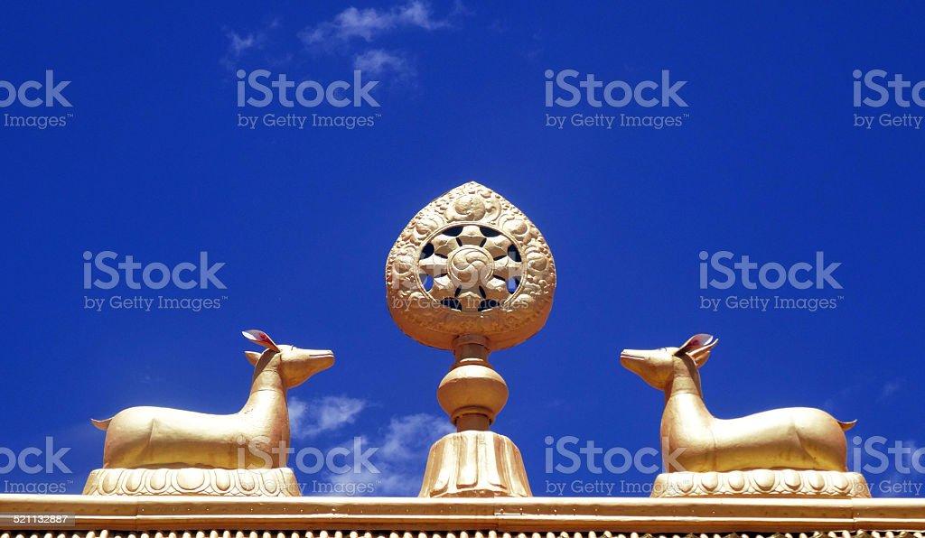 Wheel of Dharma stock photo