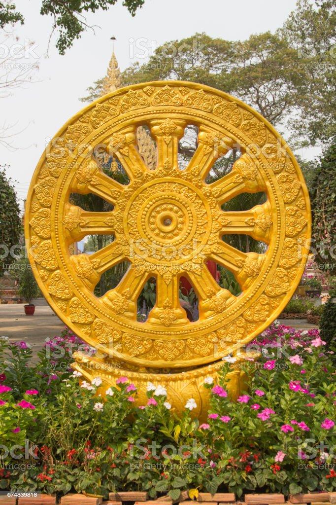 Wheel of Dharma texture or wheel of life, stock photo