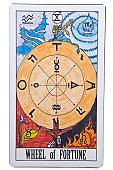 Wheel of Fortune tarot card on Isolate Background