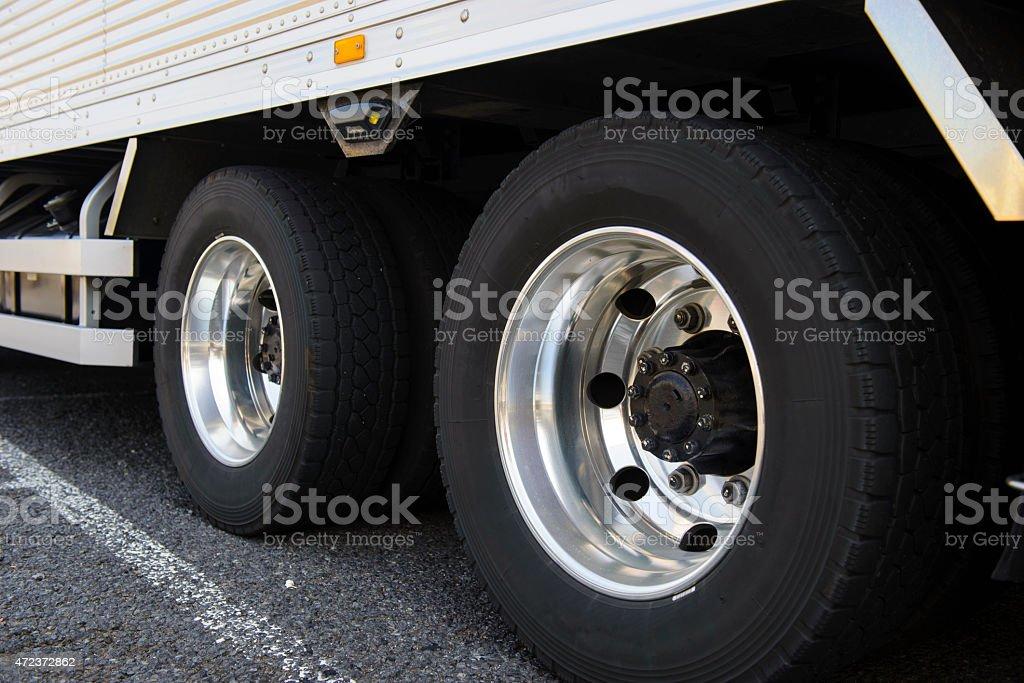 Wheel of large truck stock photo