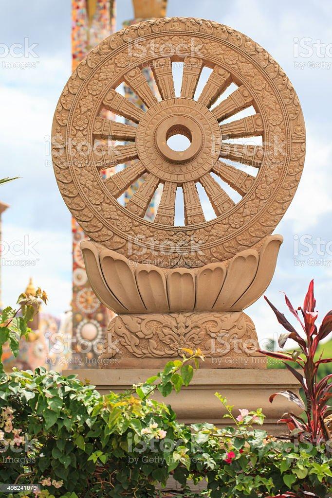 Wheel of Law or Dhamma-Jakra stock photo