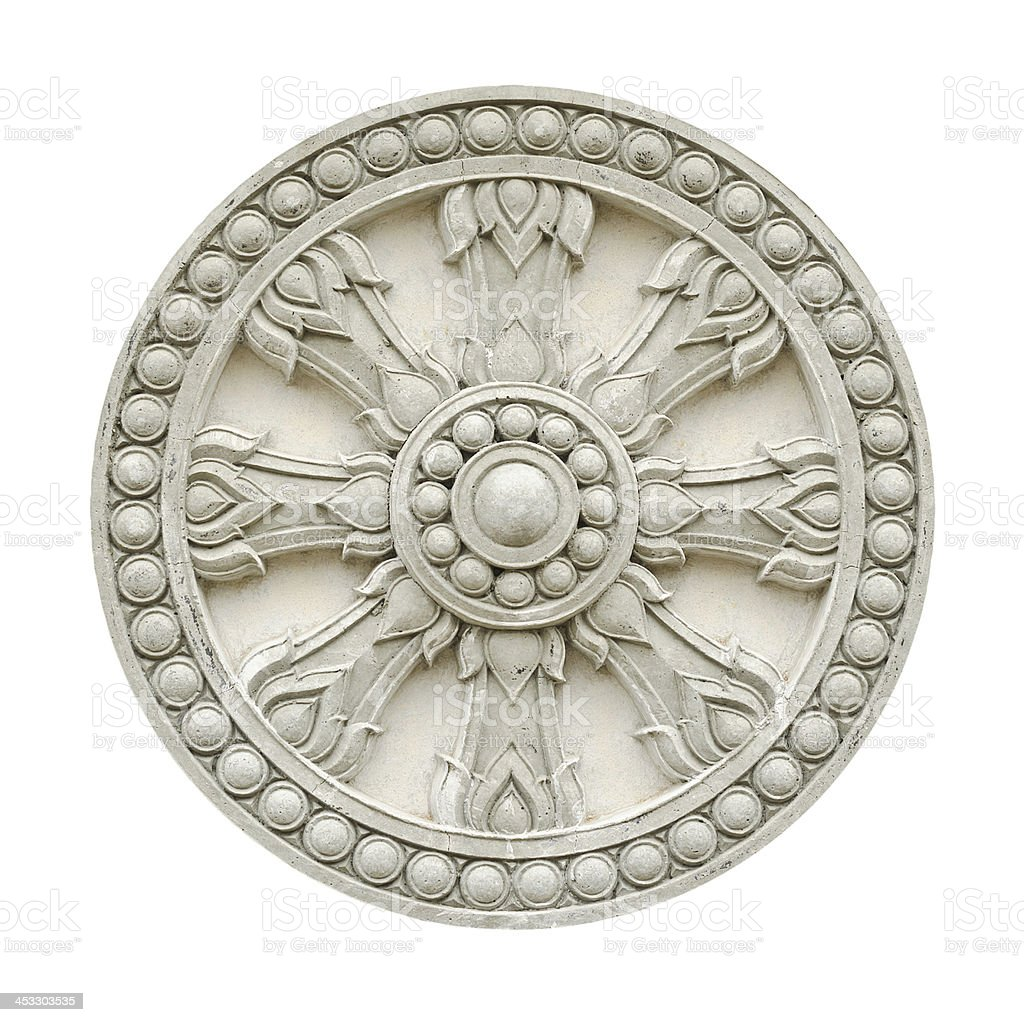 wheel of life molding isolated on white with clipping path stock photo