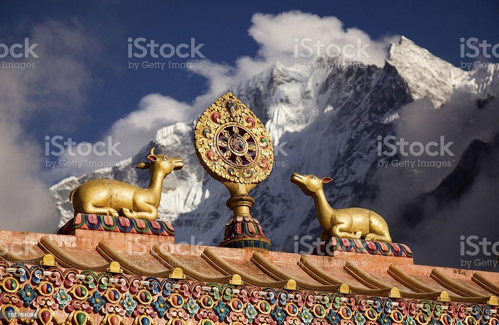 Wheel of life near Lhasa stock photo