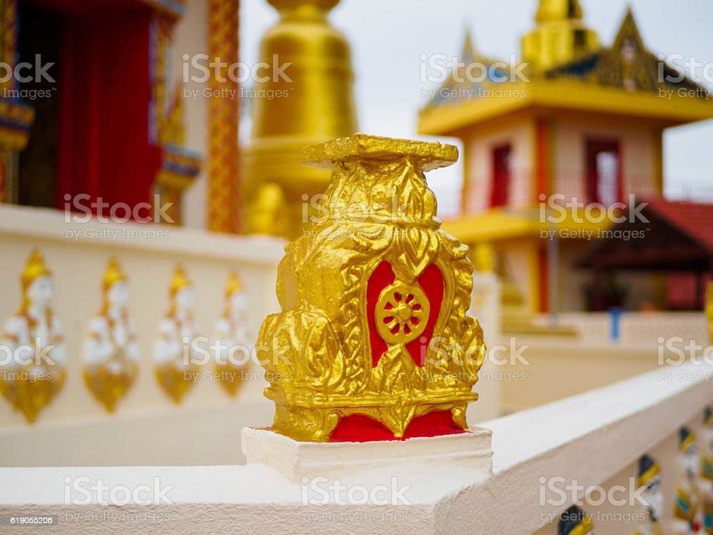 Wheel of life or Dharmachakra or Wheel of Dhamma stock photo