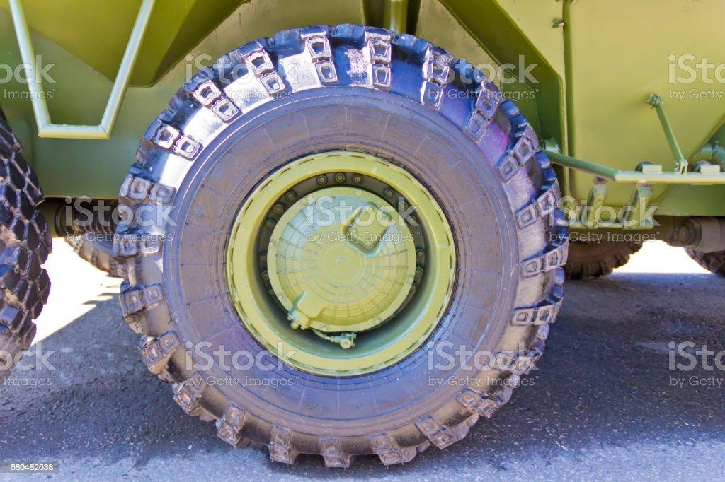 Wheel of military transport stock photo