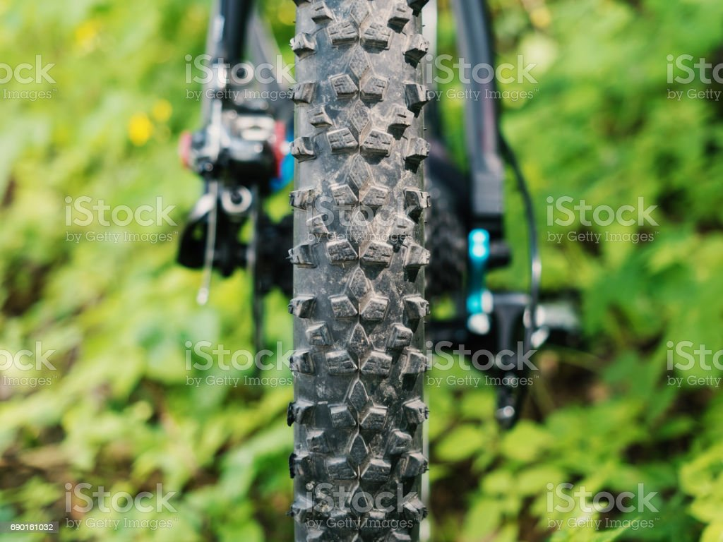 Wheel of mountain bike stock photo