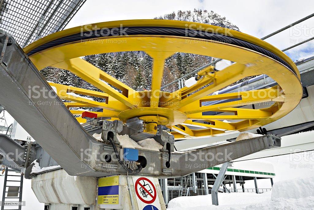 wheel of ski lift royalty-free stock photo