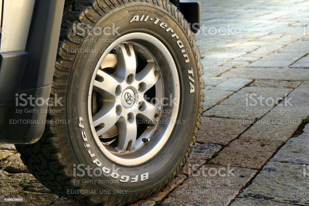 Wheel of the off-road car close-up stock photo