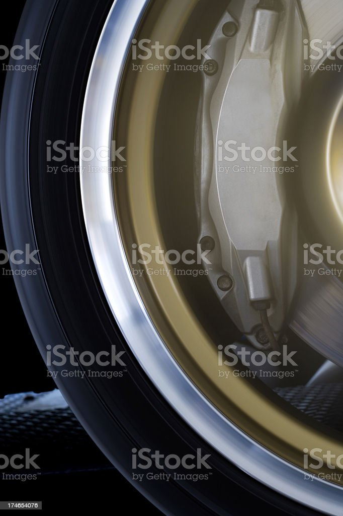 Wheel rolling on Dynamometer 4 stock photo