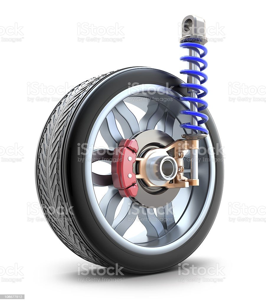 Wheel, shock absorber and brake pads stock photo