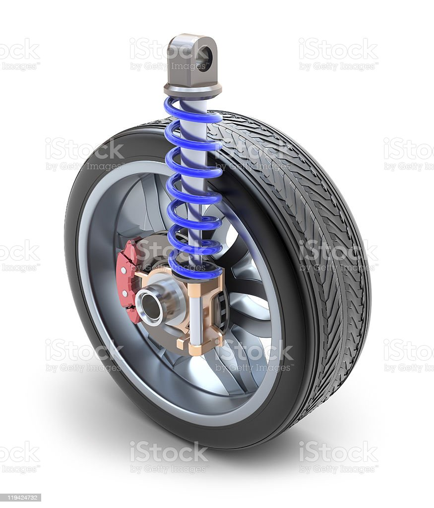 Wheel, shock absorber and brake pads royalty-free stock photo