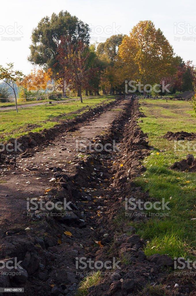 wheel tracks on alley during autumn stock photo
