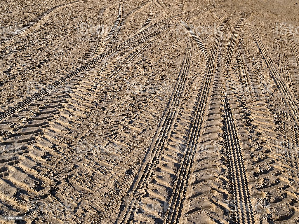 Wheel tracks on country road sand royalty-free stock photo