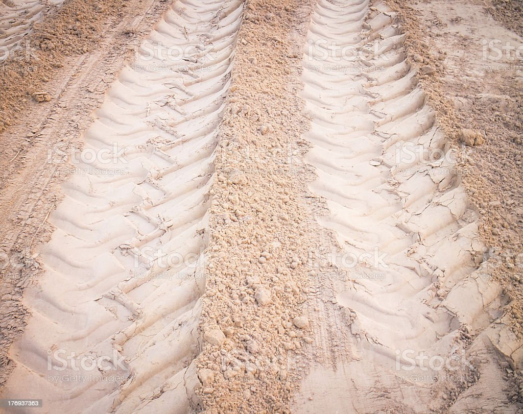 wheel tracks on dirt royalty-free stock photo