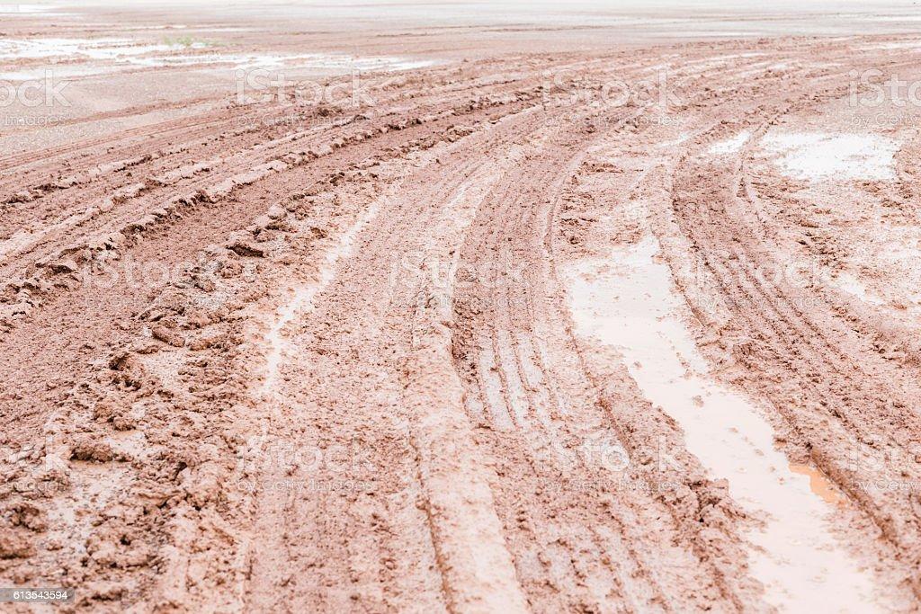 Wheel tracks on marshy road after raining stock photo