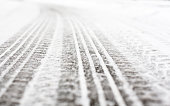 Wheel tracks on the road covered with snow