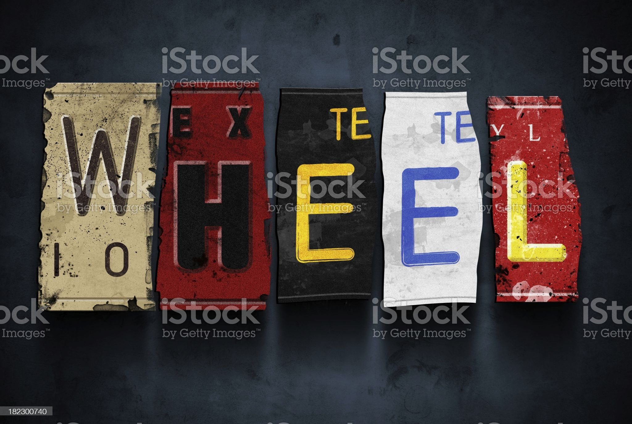Wheel word on vintage car license plates, concept sign royalty-free stock photo