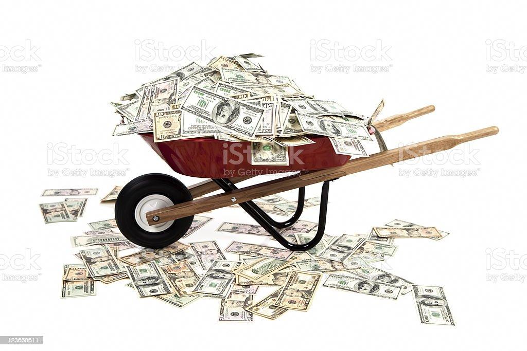 Wheelbarrow Full of Money royalty-free stock photo