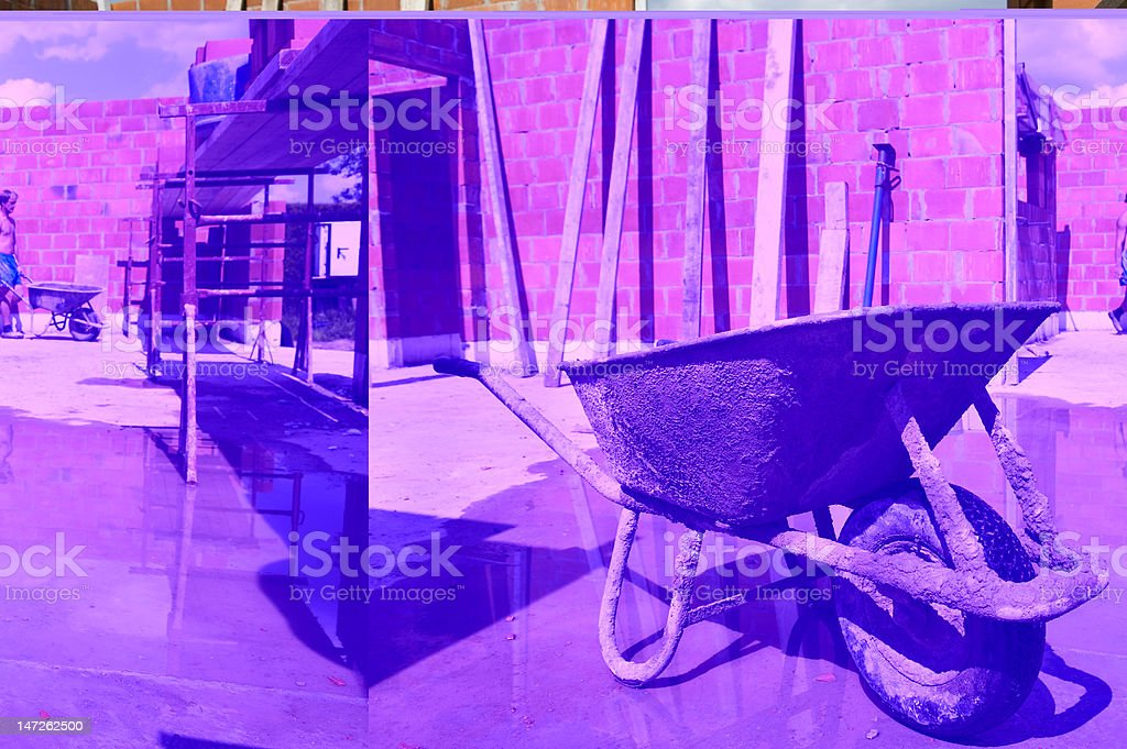 wheelbarrow on constuction site royalty-free stock photo