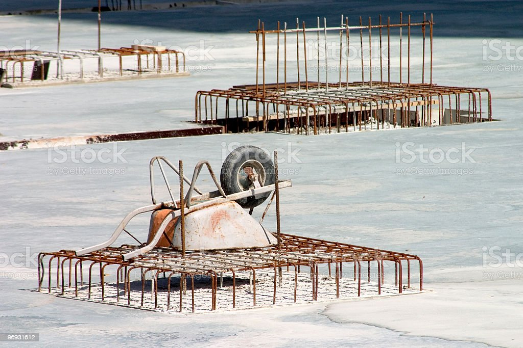 Wheelbarrow on rebar royalty-free stock photo