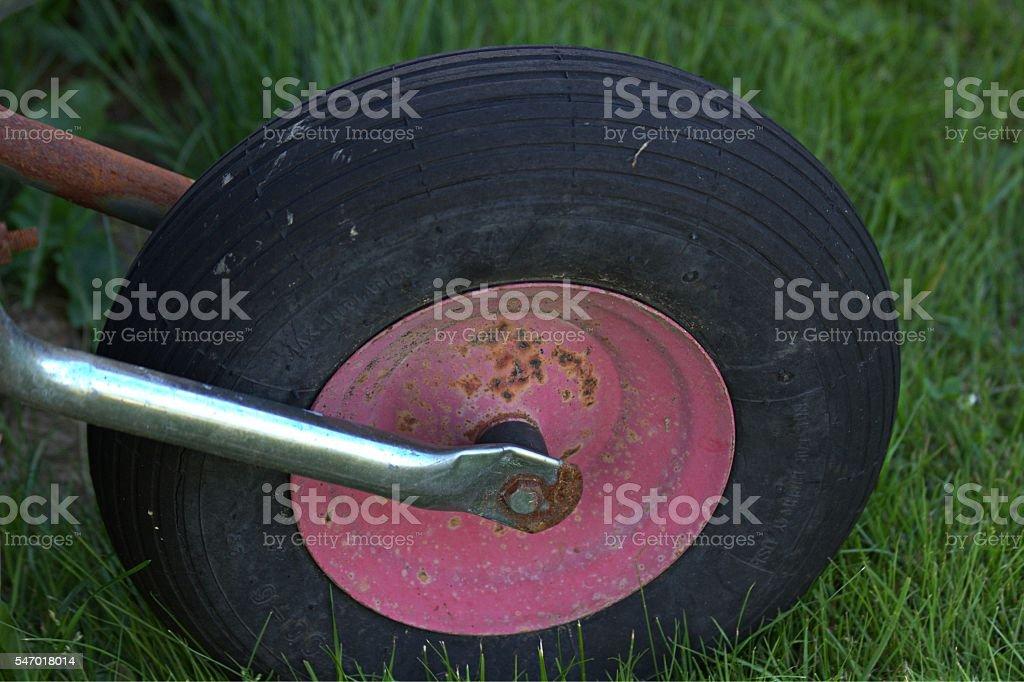 Wheelbarrow wheel stock photo