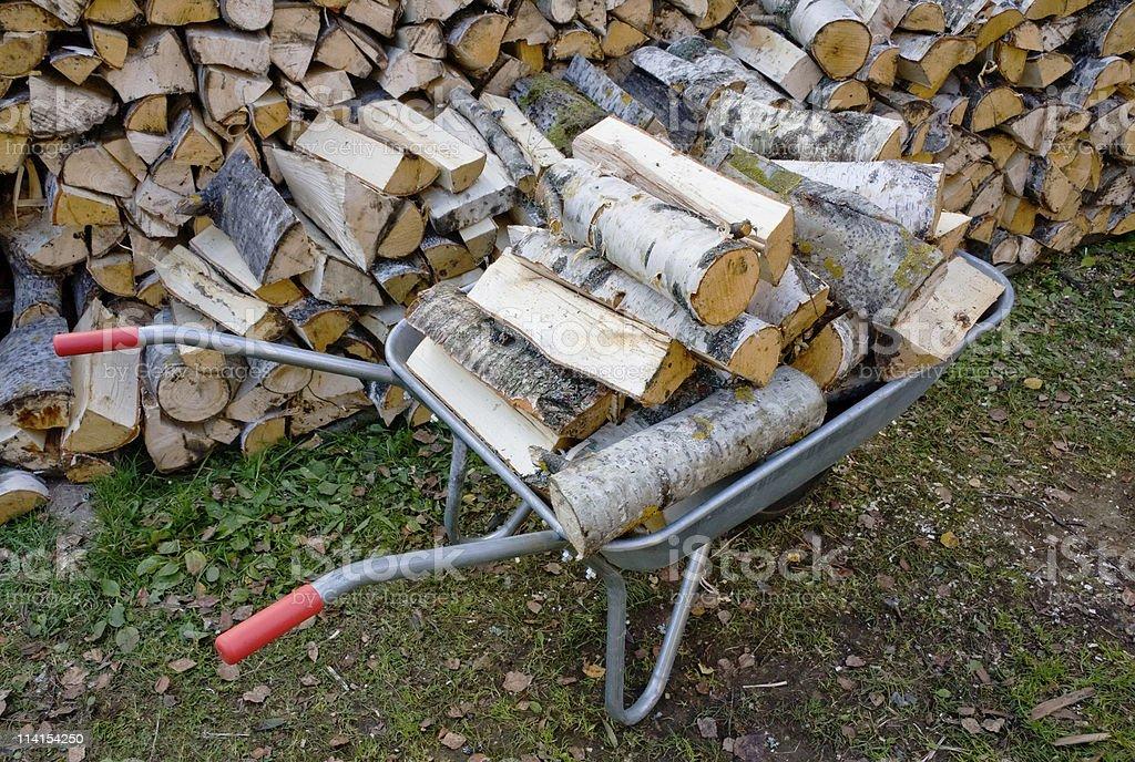 Wheelbarrow with Birch firewood royalty-free stock photo