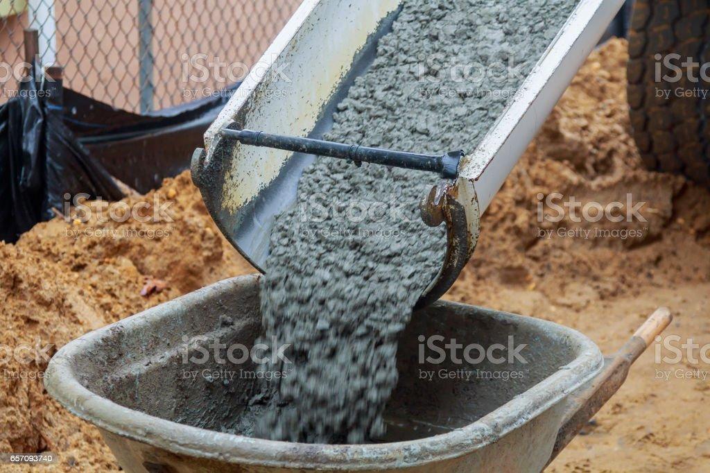 Wheelbarrow with shovel full of cement stock photo