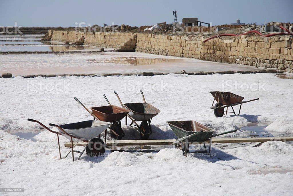 wheelbarrows for salt collection stock photo