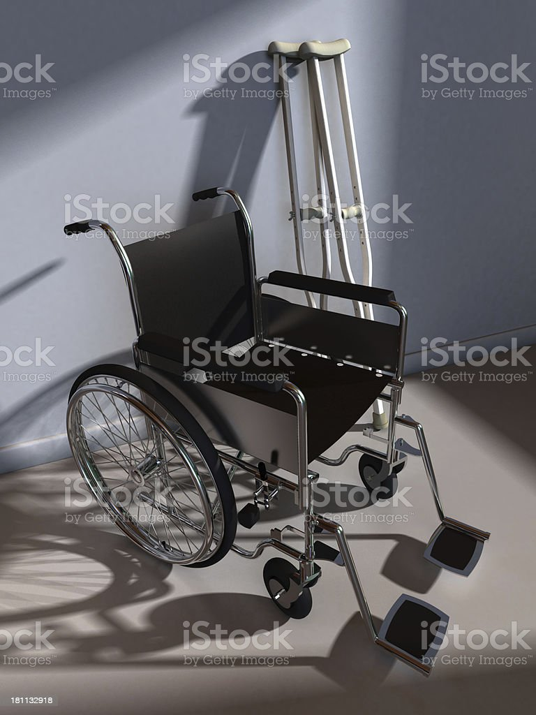 Wheelchair and Crutches royalty-free stock photo