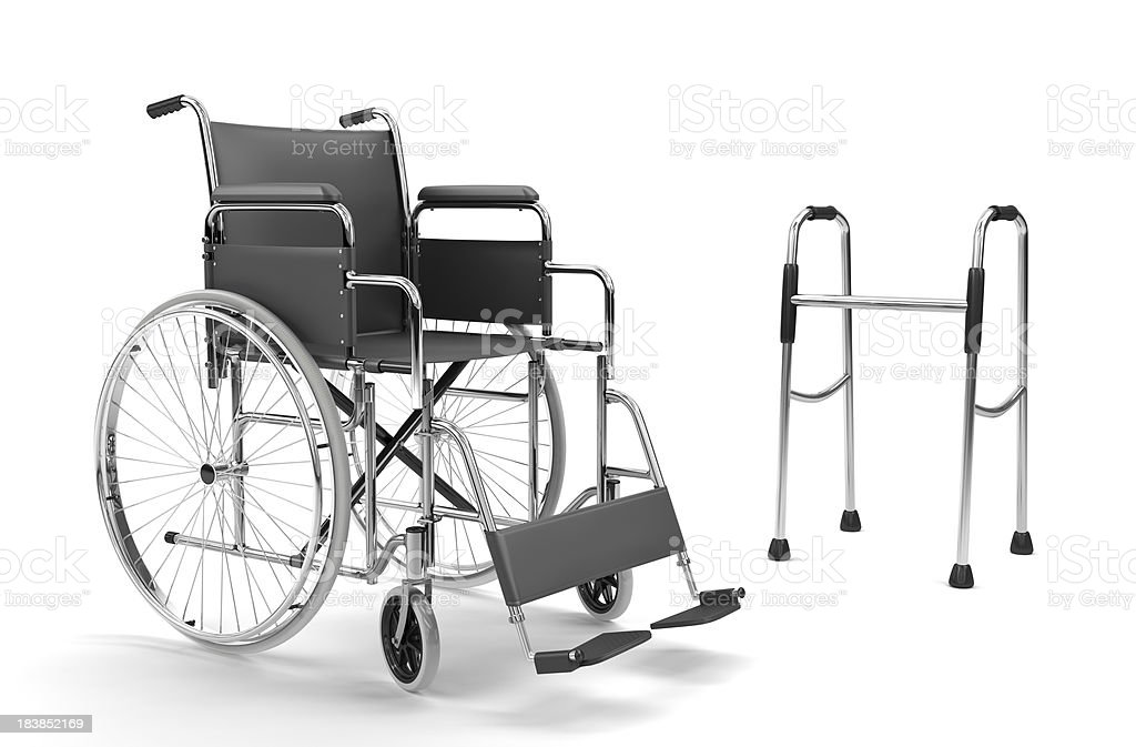 Wheelchair and Walker on White Background (XXXL) royalty-free stock photo