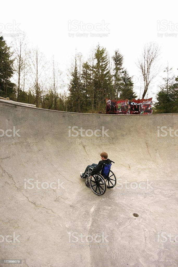 Wheelchair At The Skate Park royalty-free stock photo