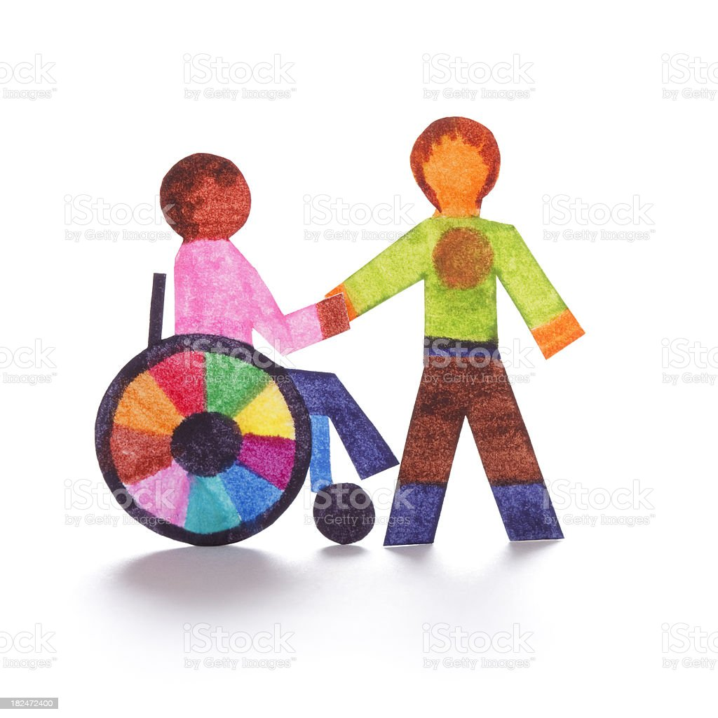 Wheelchair bound person and friend - paper cutouts royalty-free stock photo