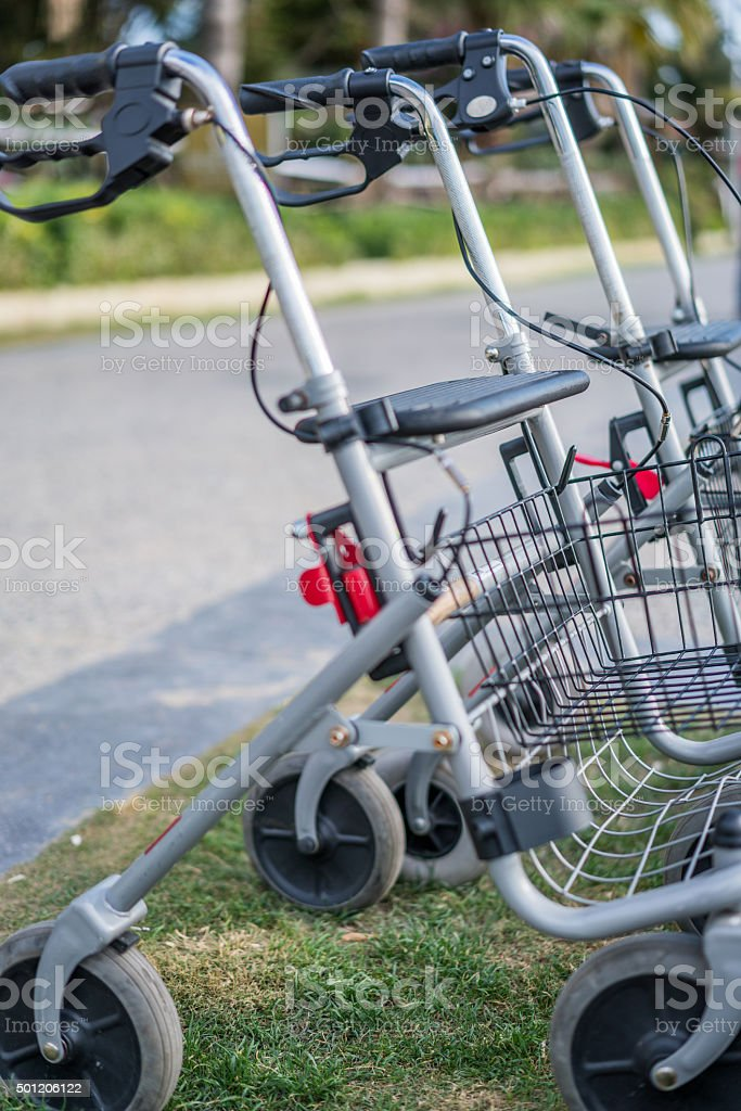 Wheelchair close-up sellective focus. Medical equipment stock photo