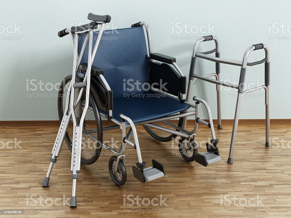 Wheelchair, crutches and walker stock photo