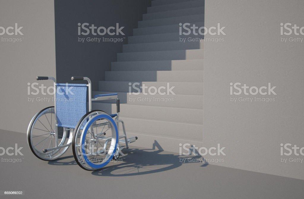 Wheelchair disadvantage concept stock photo