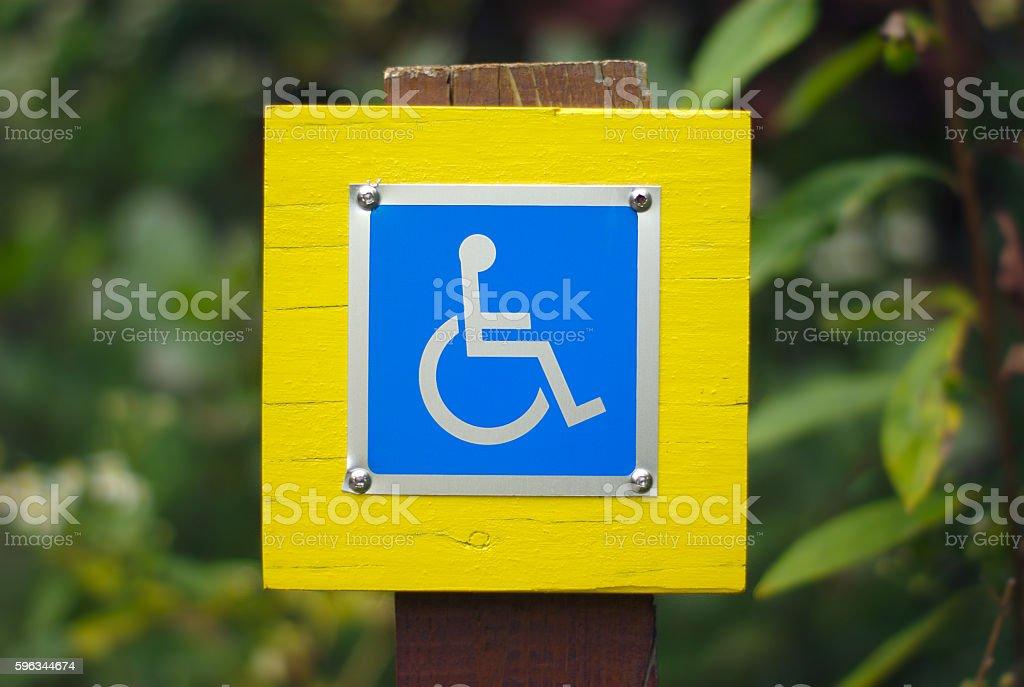 wheelchair handicap sign disabled blue symbol stock photo