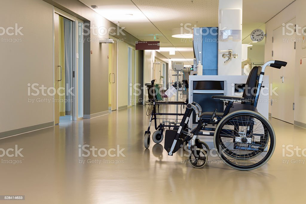 Wheelchair in a modern Dutch hospital stock photo