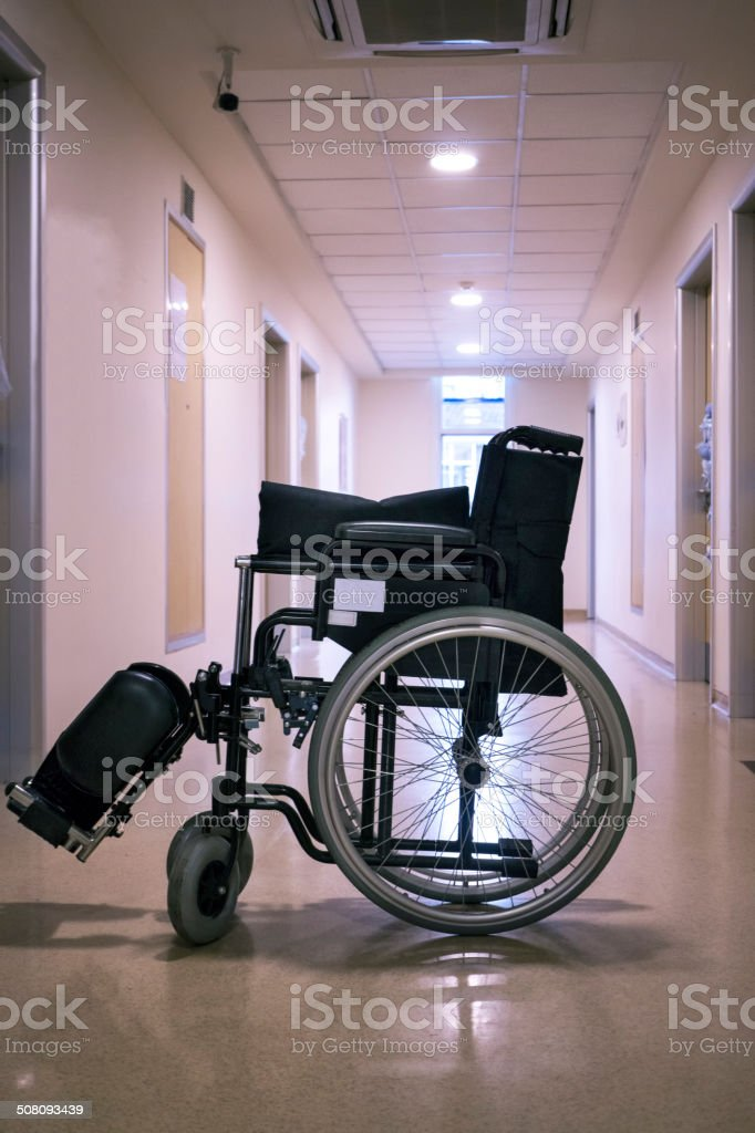 Wheelchair in Hospital stock photo