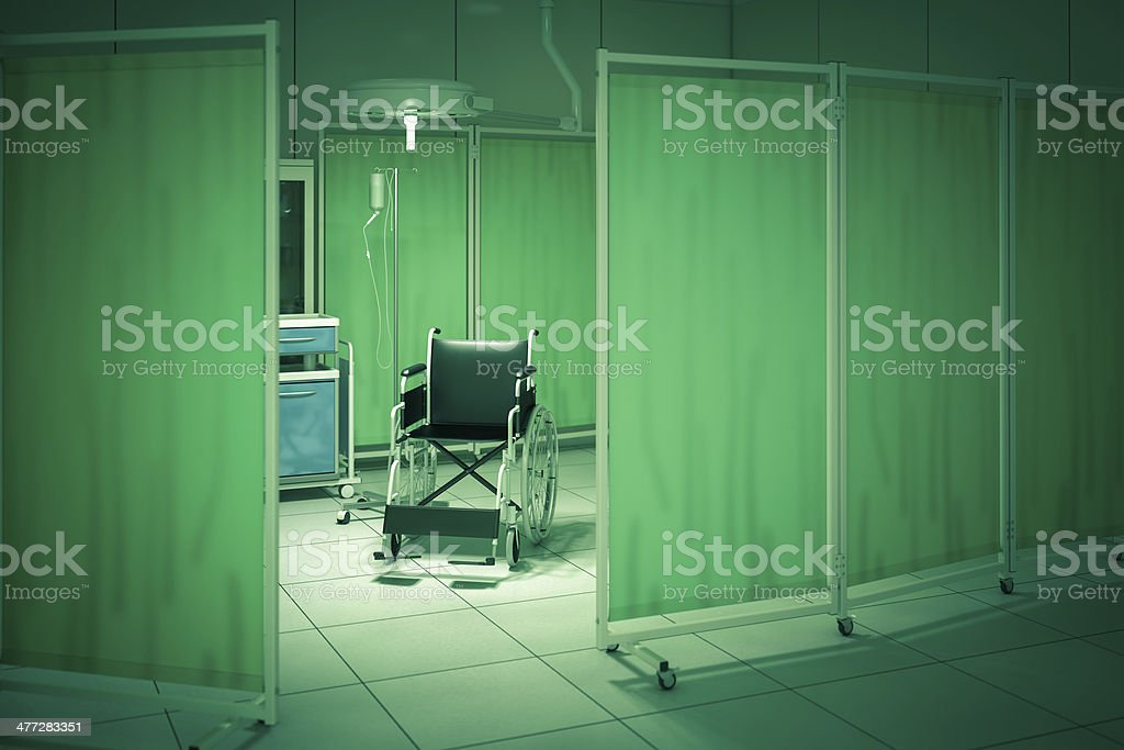Wheelchair in hospital room royalty-free stock photo