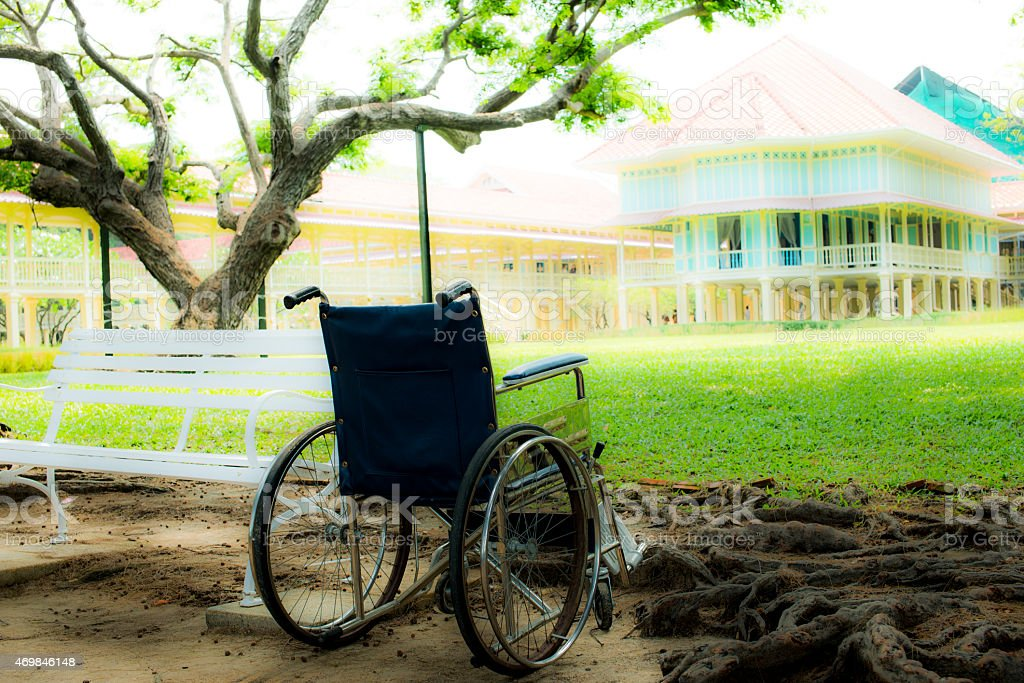 Wheelchair in the park royalty-free stock photo