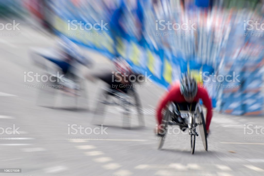 Wheelchair Marathon Racers During Race, Motion Blur stock photo