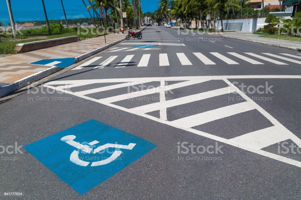 Wheelchair parking space in Joao Pessoa stock photo