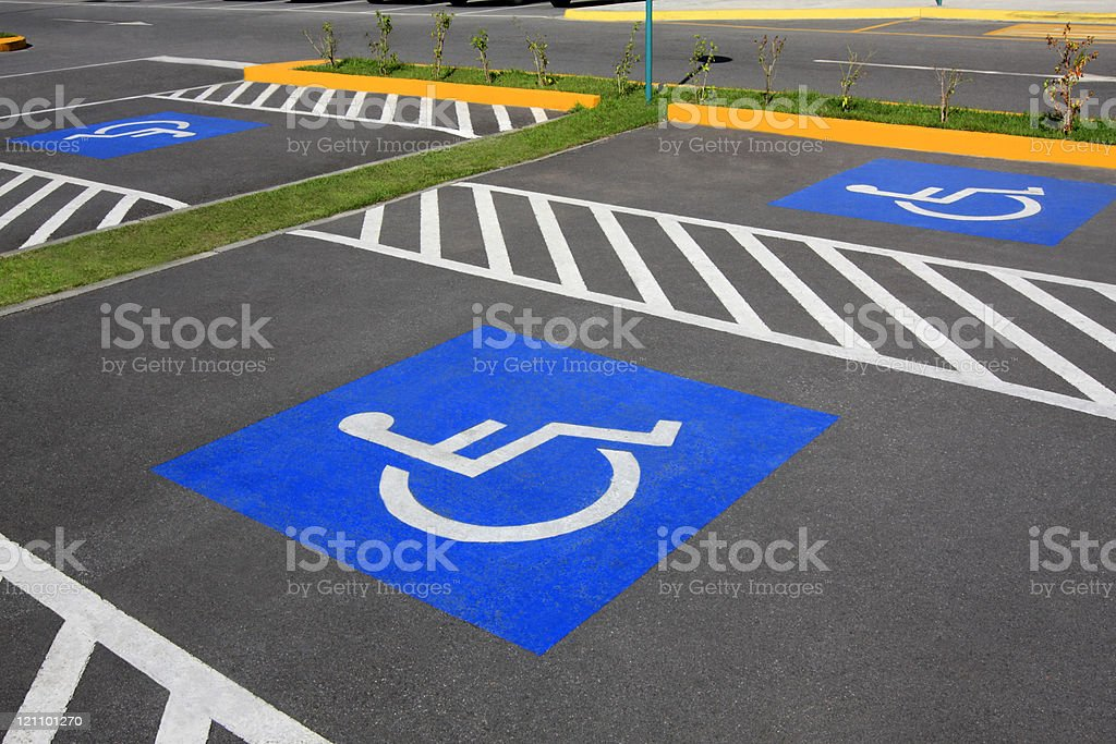 Wheelchair parking space stock photo