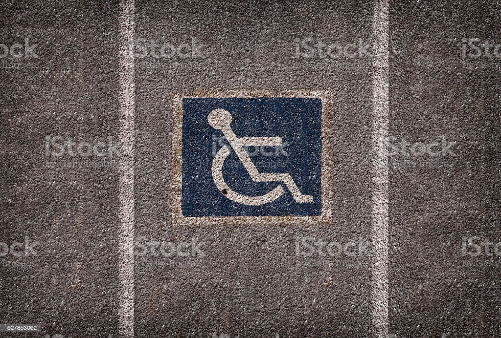 wheelchair parking symbole on car park stock photo