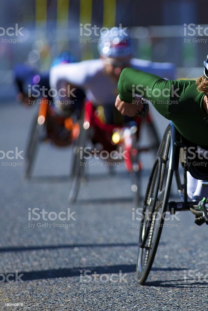 Wheelchair race stock photo