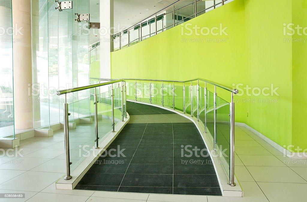 Wheelchair ramp  in a bulding stock photo