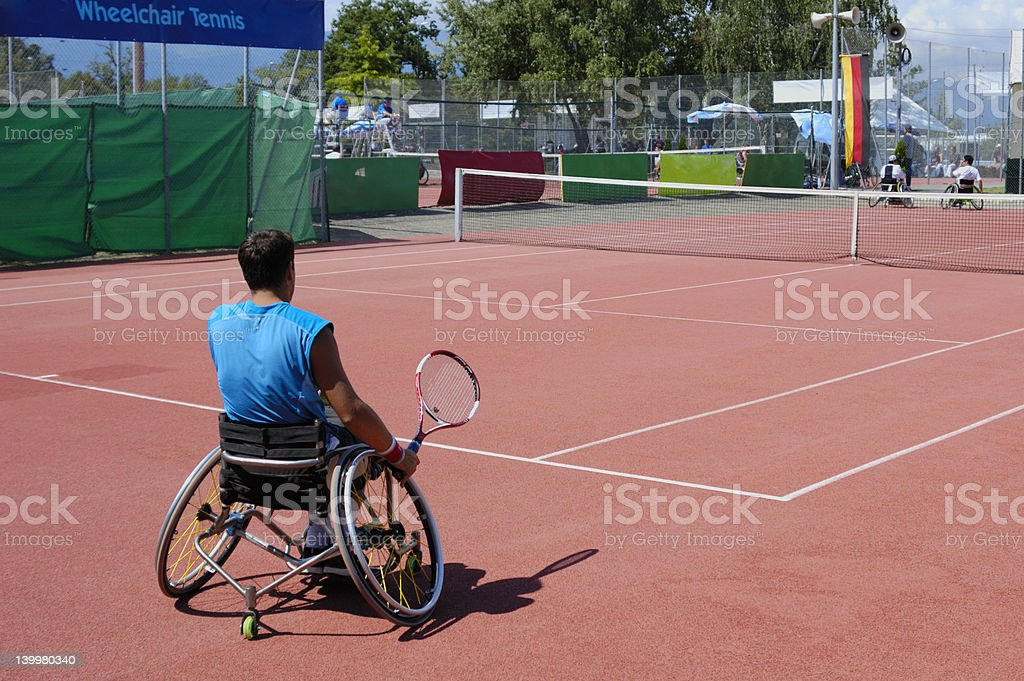 Wheelchair tennis stock photo