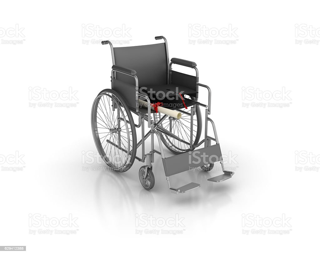 Wheelchair with Graduation Cap - 3D Rendering stock photo